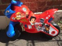 PAw patrol ride on wide wheel motorbike
