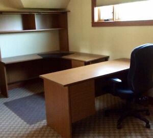 3 Piece Wood Desk, chair and floor mat