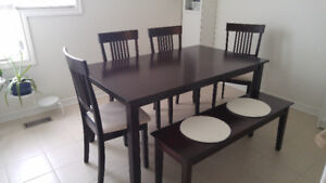 Dining Set with 4 chairs and 1 bench