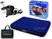 BESTWAY INFLATABLE DOUBLE FLOCKED AIR BED CAMPING AIRBED MATTRESS +ELECTRIC PUMP (Used)