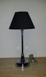 silver desk Lamp :: Black Shade :: 2 NEW bulbs included ..