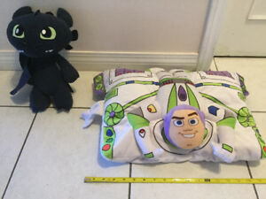 Toothless Plush and Lightyear Plush pillow, both for $12