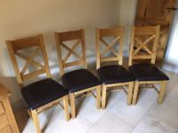 Solid oak chairs - set of four