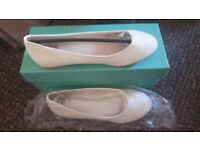 Ivory flat dolly shoes