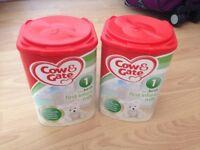 2 tubs of caw & gate first infant milk formula