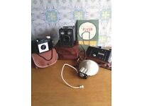 FINAL REDUCTION!! VINTAGE CAMERA'S INCLUDING ORIGINAL CASES, FLASH AND HOW TO BOOKLET & SUPPLIMENT