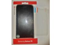 Samsung Galaxy S5 Tortoise Genuine Leather Flip Case - Brand NEW + 2x Screen protector