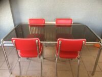 NEW PRICE - Retro Style Diner Glass Table and Chairs