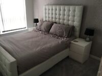 White leather king size bed and mattress