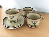 3 Denby Savoy Tea Cups & Saucers