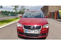 VW TOURAN SPORT 2.0 TDI, 140 BHP, 7 SEATER, LEATHER INTR, A YEAR'S MOT, 6 MONTHS WARRANTY WITH MOTOR