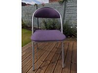 Folding Padded Chair Purple Wool Upholstery Silver Frame