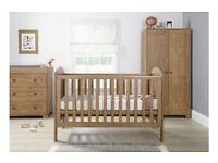 Mamas and Papas Nursery 3 piece dark oak furniture set