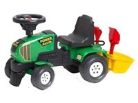 Ride-On Toy Baby Tractor with Bucket and Accessories Green