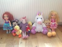 Bundle joblot collection of soft toys dolls