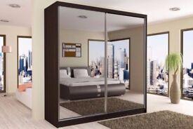 Brand New BERLINS 2 Door Sliding Wardrobe with Mirrors, Hanging Rails in Black/White/Wenge/Walnut