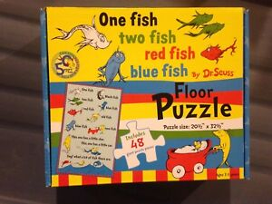 One fish two fish red fish blue fish dr suess floor puzzle