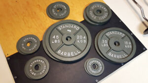 "Complete 2"" Olympic Weight Plates Set - 255 lbs"