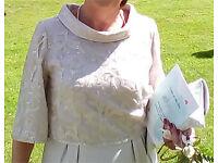 Elegant silver/grey mother of bride/groom dress (size 12), fascinator and clutch bag