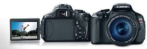 **Canon T3i + 2x Lenses + Battery Grip + 2x Memory Cards**