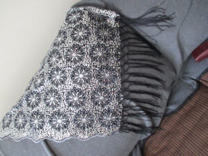 Black Sequin and Lace Scarf