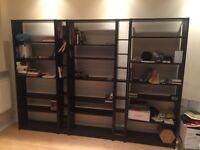 Black Ikea Bookshelves & CD Racks (Billy & Gnedby)