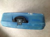 Reduced Blue hard plastic Delsey suitcase used