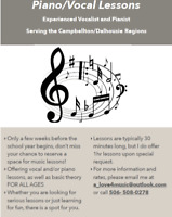Vocal/Piano Lessons For All Ages