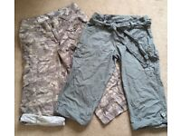 2 x pairs of cropped trousers size 8