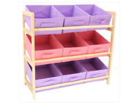 Pink and purple storage unit