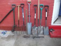 garden tools quiet a few what you see in picture and pick axes