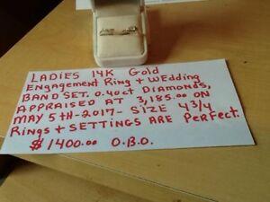 ladies 14k gold wedding ring set