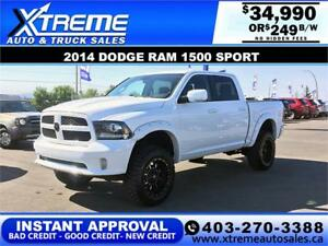 2014 DODGE RAM SPORT LIFTED *INSTANT APPROVAL $0 DOWN $249/BW