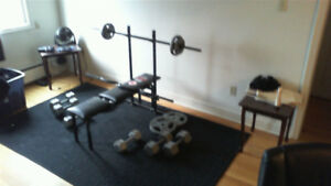 start up complete weight set with bars and new bench