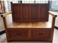 Solid Oak Furniture Monk Seat Bench With Large Storage Drawers