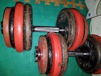 Pair of 29kg dumbbells .58kg total