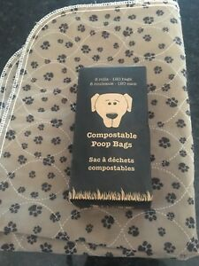Dog poop bags and mat for under food dish