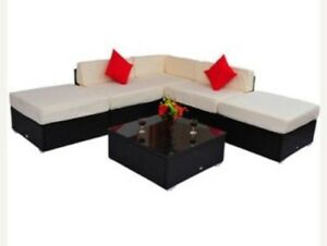 Outsunny Deluxe Rattan 6 piece Wicker Sectional