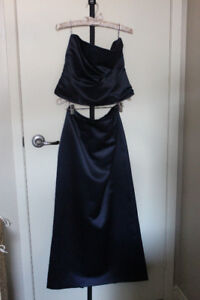 Custom Made Navy Blue 2 Piece Satin Dress