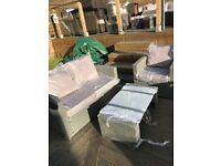 Grey Outdoor garden rattan set with glass topped table - delivery available
