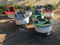 Seven water toy boats and three fairground rides for sale