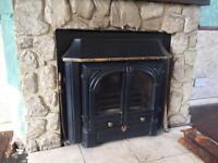 Solid fuel log burner water heater