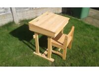 Childs 'lift top' wooden desk and chair - infant school age.