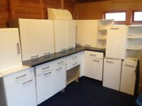 Second hand used kitchen units worktops & appliance white collar units with shelves