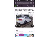 """AUDI A4 PEARL WHITE BOSE 18"""" WHEELS MOT SERVCIE HISTORY CHEAPEST OF ITS KIND HIGH HIGH SPEC"""