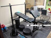 weight bench machine, 70kg weights, x2 bars, x2 dumbells