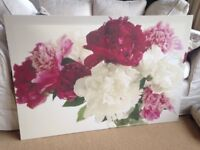 Beautiful floral large canvas picture peony roses