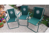 3 green folding garden chairs