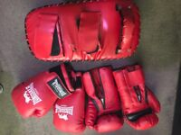 2 Pairs of Longsdale Boxing Gloves with Garter Sport KickPad