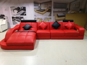 RED sectional in genuine Italian leather (LIQUIDATION)